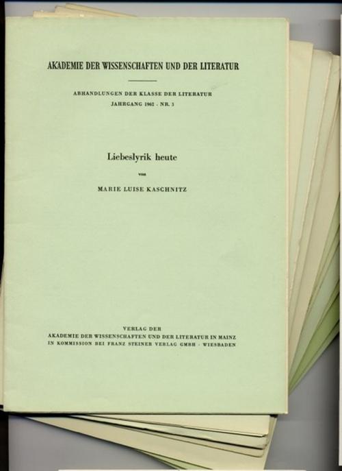 - Akademie der Wissenschaften und der Literatur. Abhandlungen der Klasse der Literatur. Konvolut mit 12 Heften der Reihe.