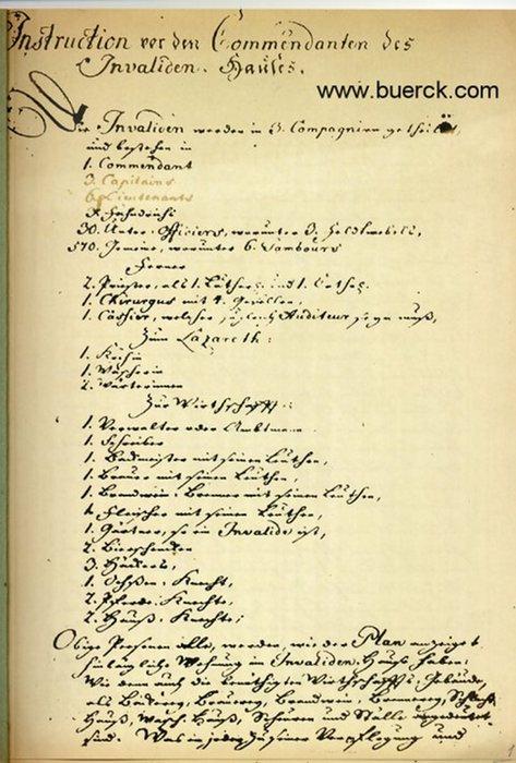 - Instruction vor den Commendanten des Invaliden-Hauses. Faksimile des Originaldokuments vom 31. August 1748.