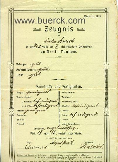 - Kleine Sammlung von 7 Schulzeugnissen der Frida Zwick aus der Volksschule zu Berlin-Pankow.