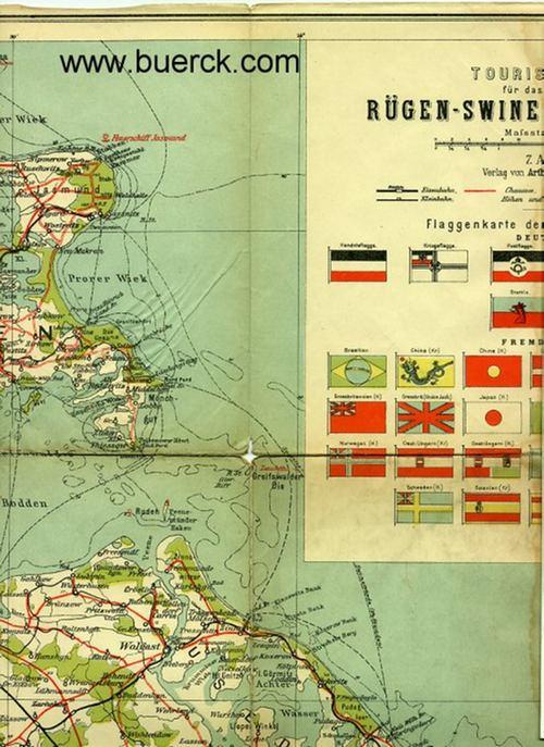 - Touristenkarte für das Ostsee-Gebiet Rügen - Swinemünde - Stettin. Vierfarbig.