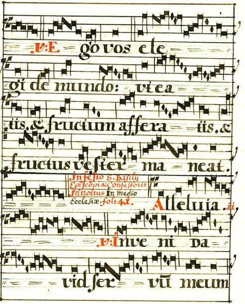 - Beidseitig beschriebene Notenhandschrift aus einem lateinischen Gesangbuch. In einfachem, verglasten  Holzleistenrahmen.