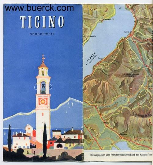 - Ticino. Südschweiz. Faltprospekt mit teils farbigen Abbildungen und Karten.