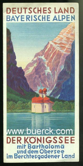 - Der Königsseee mit Bartholomä und dem Obersee im Berchtesgadener Land. Faltprospekt mit s/w-Abbildungen.