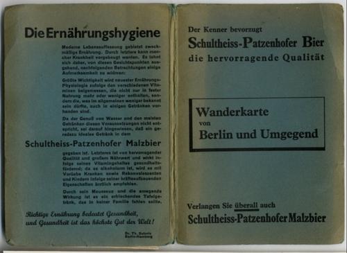 - Wanderkarte von Berlin und Umgegend. Gedruckt als Werbegabe der Schultheiss-Patzenhofer-Brauerei.