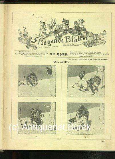 - Fliegende Blätter. Und: Beiblatt der Fliegenden Blätter. Sammelband mit diversen Nummern. Mit zahlreichen  Karikaturen und Werbeanzeigen.