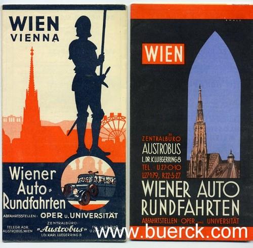 - Wien. Vienna. Wiener Auto-Rundfahrten. Zwei teils farbige Faltkarten mit Informationen zu den Ausflügen des  Veranstalters und weiterer Werbung. Überreicht durch Austrobus.