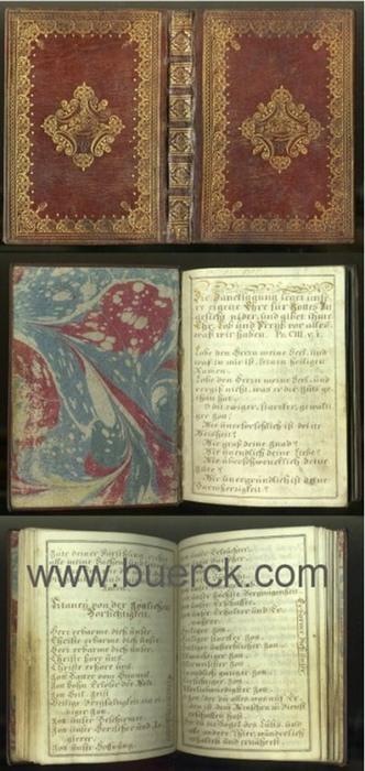 - Gebetbuch. Deutsche Handschrift auf Pergament. 23 Zeilen in brauner Tinte mit gelegentlichen goldenen Initialen.  Schriftspiegel 135 x 91 mm, umgeben von einem doppelten Rahmen aus  brauner Tinte.