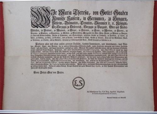- Wir Maria Theresia, von Gottes Gnaden Römische Kaiserin, in Germanien, zu Ungarn, Böheim, Dalmatien, Croatien (...). Edict vom  14. Apil 1762.