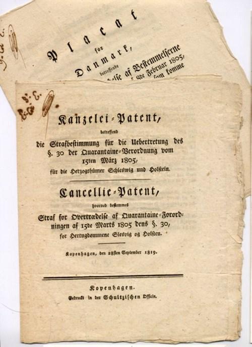 - Zwei Deutsch-Dänische Kanzleischriften zu Quarantäne-Bestimmungen [Text Deutsch und Dänisch resp. nur Dänisch].