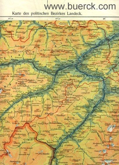 - Karte des politischen Bezirkes Landeck / Österreich. Bearbeitet von Seraphin Zangerl. Massstab 1 : 150000. Farbig lithographierte  Faltkarte.