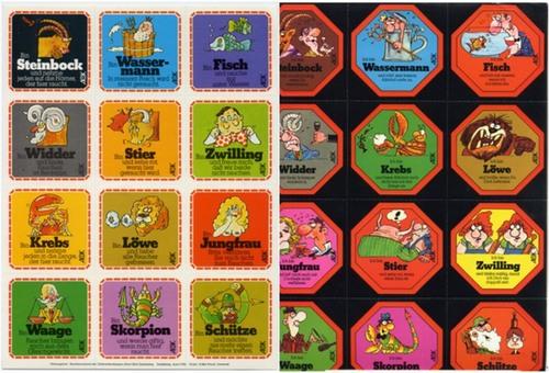 - Zwei Blatt mit jeweils 12 selbstklebenden, farbigen Aufklebern mit verschiedenen Motiven nach Entwurf von  'acon'.