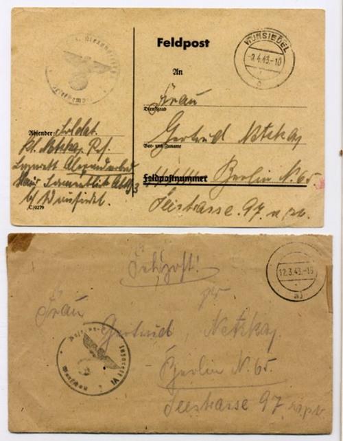 - Zwei Stücke Feldpost von 1943. Deutsche Handschrift auf Papier.