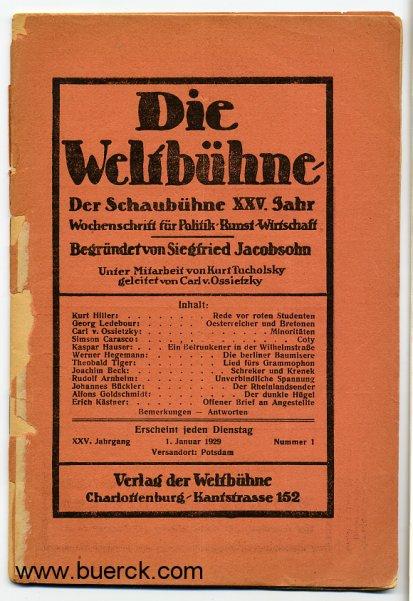 - Die Weltbühne. XXV. Jahrgang, Nummer 1, vom 1. Januar 1929.