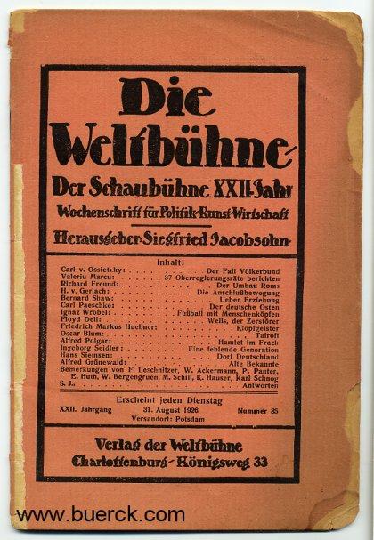 - Die Weltbühne. XXII. Jahrgang, Nummer 35, vom 31. August 1926.