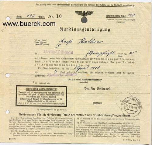 - Rundfunkgenehmigung der Deutschen Reichspost zur Stammkarte 121 für Ernst Kalbow, Berlin-Wittenau. Vordruck mit handschriftlichen  Eintragungen und Poststempel. Dazu eine Beigabe.