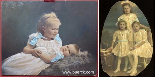 - Zwei kleine Kinder, Geschwister. Handkolorierte und partiell übermalte, mit Eiweiss gehöhte, Original-Photographie. Vintage.  Silbergelatine. Auf starkem Karton. Mit einer Beigabe.