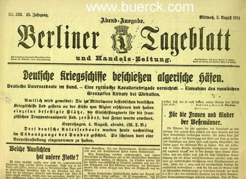 - Sammlung von 11 Tageszeitungen zum Beginn des Ersten Weltkrieges.