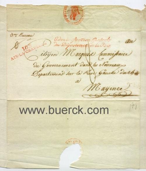 - Handschriftlicher, gesiegelter und gelaufener Briefumschlag des Aachener troisième bureau an den
