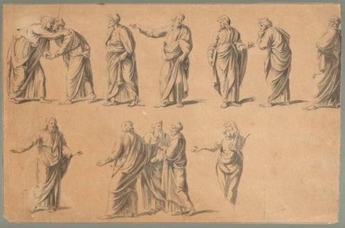 - Die zwölf Apostel. Originale Tuschzeichnung mit Feder und Pinsel auf braunem Papier eines Künstlers  aus Flandern im Stil von Raphael.