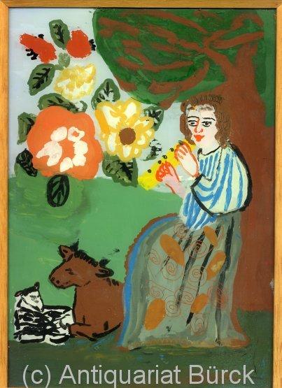 - Kopie eines Bildes von Matisse???. Original-Hinterglasmalerei eines Kindes in einem hölzernen Wechselrahmen. Bildgrösse: 29,5 x 21 cm, Rahmen: ca. 30,8 x 22 cm.