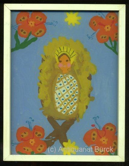 - Das Jesuskind in der Krippe. Originale Hinterglasmalerei von Kinderhand in einem weissen Wechselrahmen aus Holz, Glasplatte ca. 20 x 15 cm, Rahmen: 21 x 16.