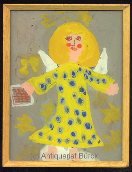 - Engel. Originale Hinterglasmalerei von Kinderhand in einem Wechselrahmen aus Holz, Glasplatte ca. 20 x 15 cm, Rahmen: 21 x 16.