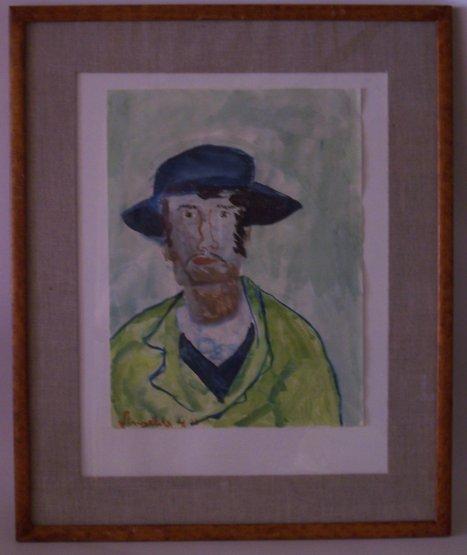 - Kopie nach einem Porträt von van Gogh. Originale Aquarellmalerei auf Papier von jugendlicher Hand in einem Holzrahmen mit Leinenpassepartout, Glasplatte ca. 60 x 49 cm, Rahmen: 63 x 51,5 cm.