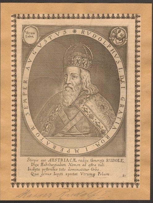 - Rudolf I. (Rudolphus I., 1218-1291). Kupferstich. Format 20,5 x 15,5 cm.