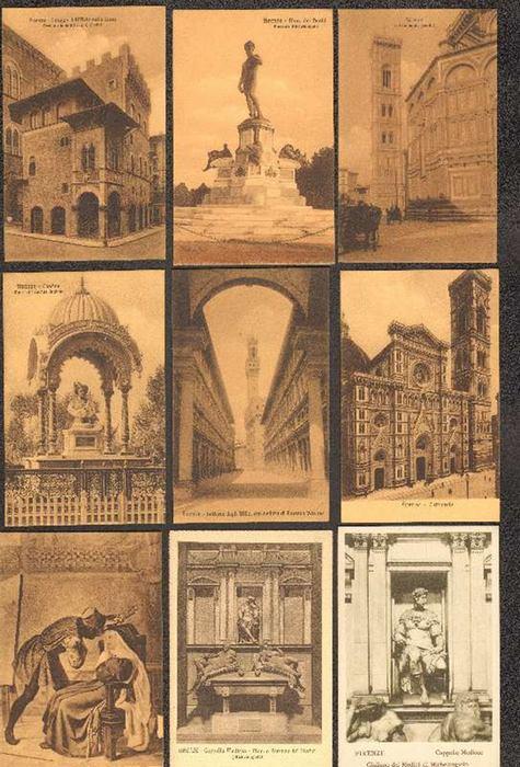 - Sammlung von 26 unbeschriebenen schwarz/weissen Postkarten aus Florenz mit Ansichten der Stadt und Ihrer Kunstwerke vom Beginn des 20. Jahrhunderts.