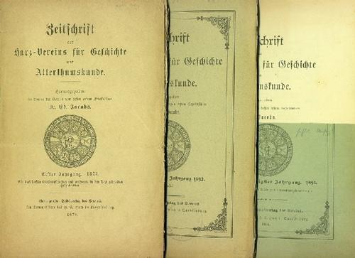 - Zeitschrift des Harz-Vereins für Geschichte und Alterthumskunde. 3 Hefte.