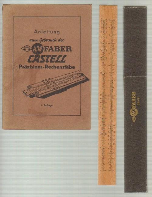- Anleitung zum Gebrauch der A.W. Faber Castell Präzisions-Rechenstäbe. 7. Auflage. Mit zahlreichen Skizzen im Text. Mit dabei: der originale Rechenstab A.W. Faber 55/91in originaler Schutzschachtel.