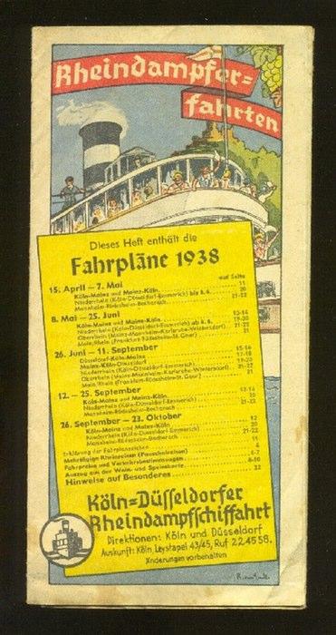 - Rheindampfer-Fahrten. Fahrpläne 1938. Farbig illustriert durch R. von Enck [?]