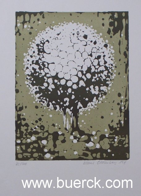 OLDENBURG, KLAUS: - Ohne Titel (Blütenkopf ?). Mehrfarbiger Linoldruck.