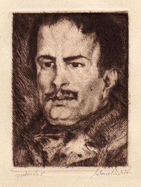 RICHTER, KLAUS: - Balzac - Unveröffentlichte Kaltnadelradierung, Frontispiz-Variante zu: Honoré de Balzac: